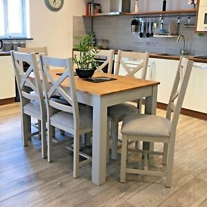 Details About Painted Grey Dining Table With Chairs Solid Oak 6 Seater York