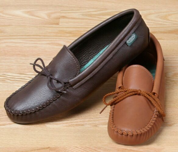 Mens Deertan Leather Softsole Moccasins Cushion Insoles Size 6-13 Handmade USA
