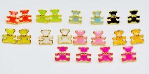 18K-ct-Gold-Plated-Color-Enamel-Cute-Small-Teddy-Bear-Stud-Earrings-Gift-9x9mm