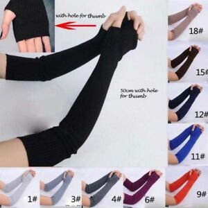 1Pair-Soft-Stretchy-Long-Sleeve-Fingerless-Gloves-Cashmere-Arm-Warmer-Sleeves-Du
