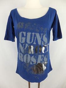 40 elegantemente shirt N Guns Blau T 'Roses Neu Print scoperta Etikett M 42 Ftwq55Scxd
