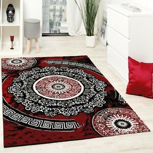 Image Is Loading Dark Red Rug Modern Black Oriental Pattern Carpet