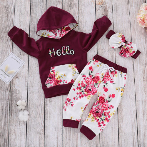 Infant Kids Baby Girls Autumn Clothes Outfits Hooded Tops Shirt+Floral Pants UK