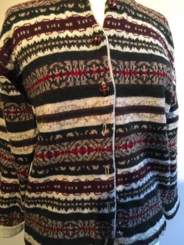 Mac Medium Striped Wool Jac And Cardigan Front Multi 100 Button Wooden rnrqAwRx1T