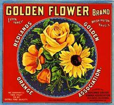 Redlands Golden Flower Rose Poppy Flowers Orange Citrus Fruit Crate Label Print