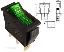 Beleuchteter Wippschalter grün 12V 20A EIN-AUS Schalter Lichtschalter #MK111g