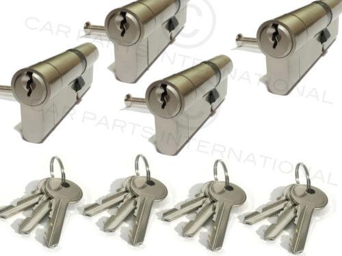 4 x Secure Euro Door Locks 45//45 NICKEL Finish Keyed Alike 3 Keys Per Lock