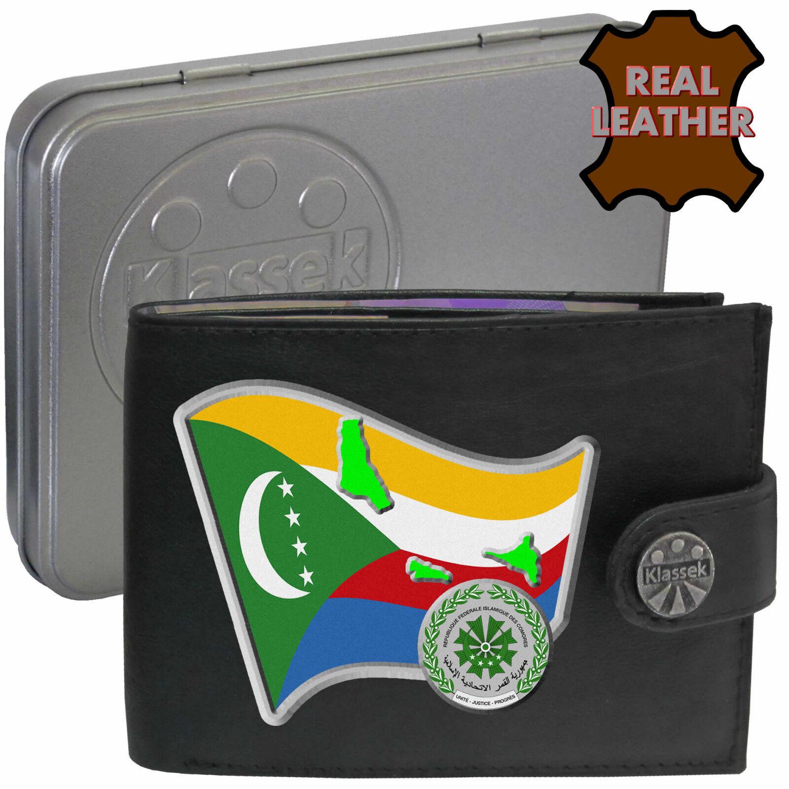 Wallet Comoros Soft Leather Flag Map Emblem Mans Qamar Men's Gift Tin RFID