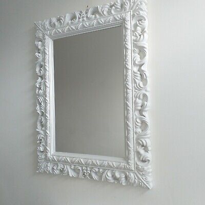 White Large French Resin Style Ornate Wall Mirror Vintage Wall Dressing Mirror Ebay