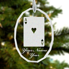 Glass Oval Ornament, Ace of Hearts Poker Card, Personalized Engraving Included