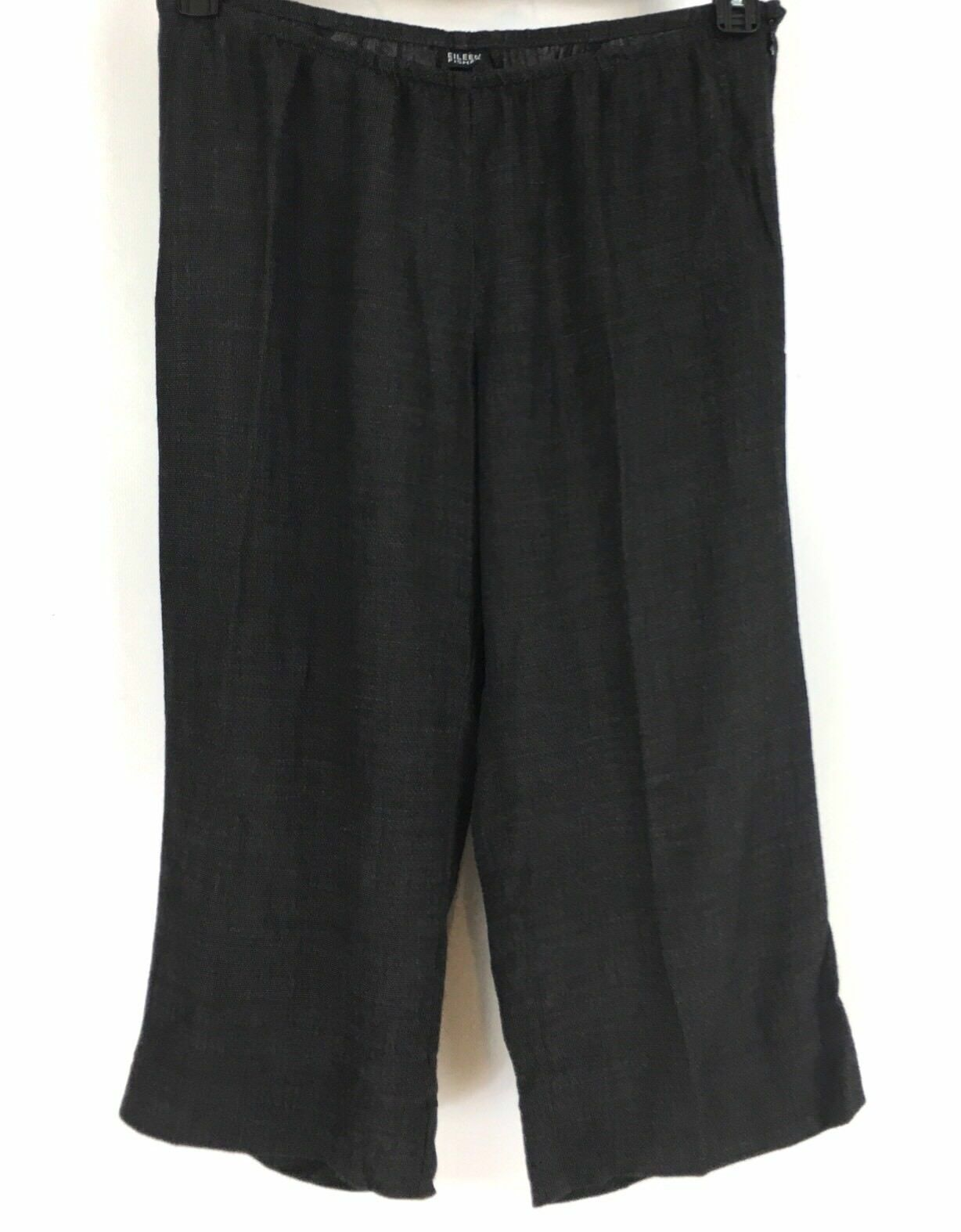 Eileen Fisher Woven Wide Leg Cropped Pants Elastic Side Zip Dark Brown Size M