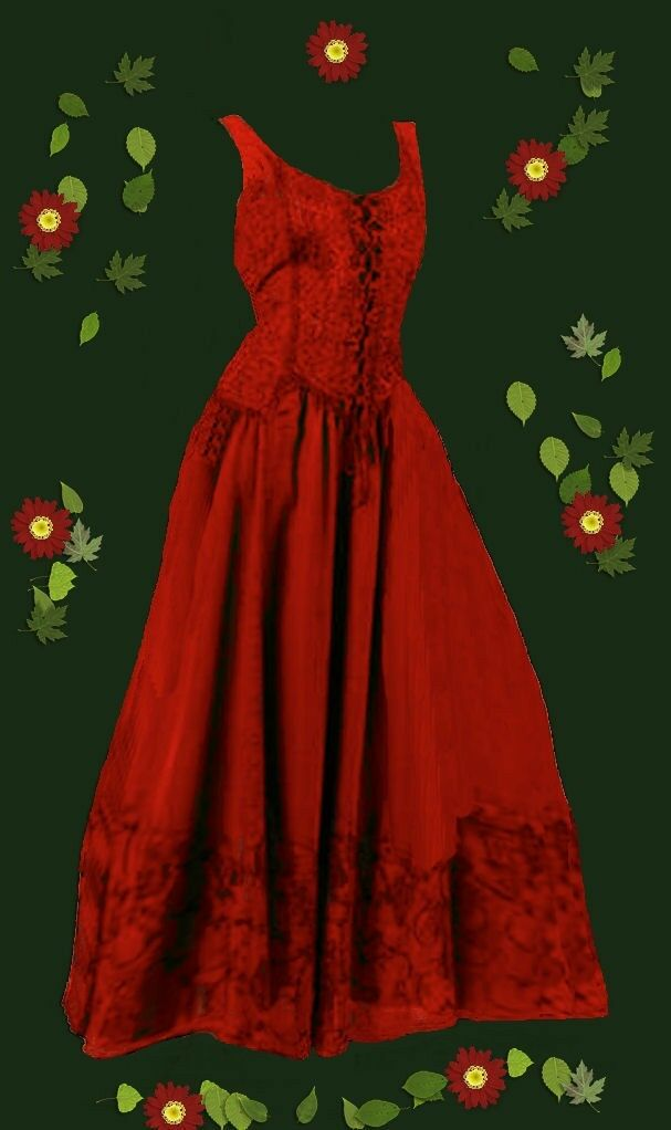 Gothic Medieval Ethno Dress Audry Embroidered Decoration - Lacing 36 38 40 42