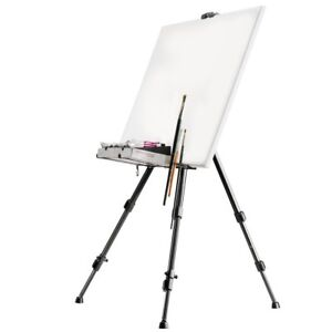 Aluminum easel for painting with support for light and stable brushes