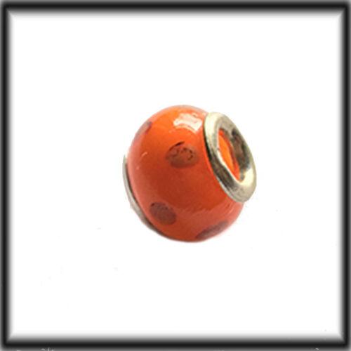 Sterling Silver Murano Glass Orange charm Bead fits Chamilia jewellery company