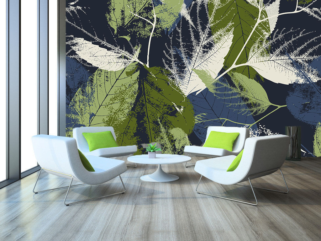 3D Grün Leaves Lines Paper Wall Print Wall Decal Wall Deco Indoor Murals