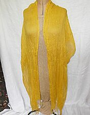 VINTAGE CRINKLE COTTON INDIAN STOLE SHRUG SHAWL SCARF DEEP YELLOW  ANYTIME CHIC