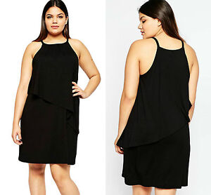 New-Women-Ladies-Midi-Black-Plus-Size-Curve-Tiered-Swing-Dress-Summer-Size-16-18