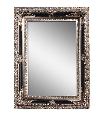 1 x Large Luxury Silver&Black Wooden Framed Wall Mirror Decorative Embossment