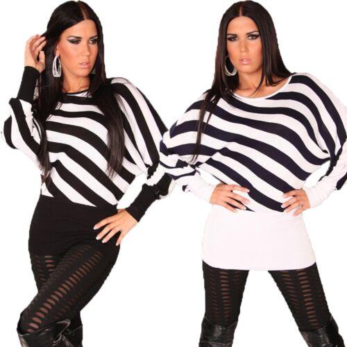 Damen Fledermaus Pullover Ringel Pulli Sweater Streifen Longpulli warm 34 36 38