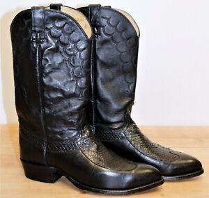 Bottes santiag IMPERIAL Cuir & Python noir 12D US 11,5UK 46EUR 30 cm made in USA