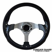 """14"""" Carbon Fiber Performance Boat Steering Wheel w/ 3/4"""" Tapered Key Way Adapter"""