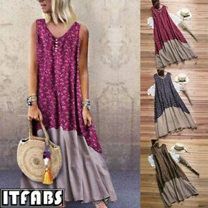 Women-039-s-Summer-Boho-Floral-sleeveless-Long-Maxi-Dress-Party-Beach-Sundress-6-14
