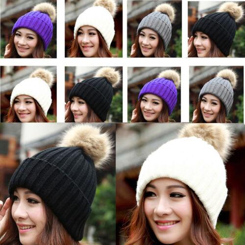Women Fur Pom Pom Ball Knit Baggy Bobble Hat Beanie Beret Ski Cap Winter Warm