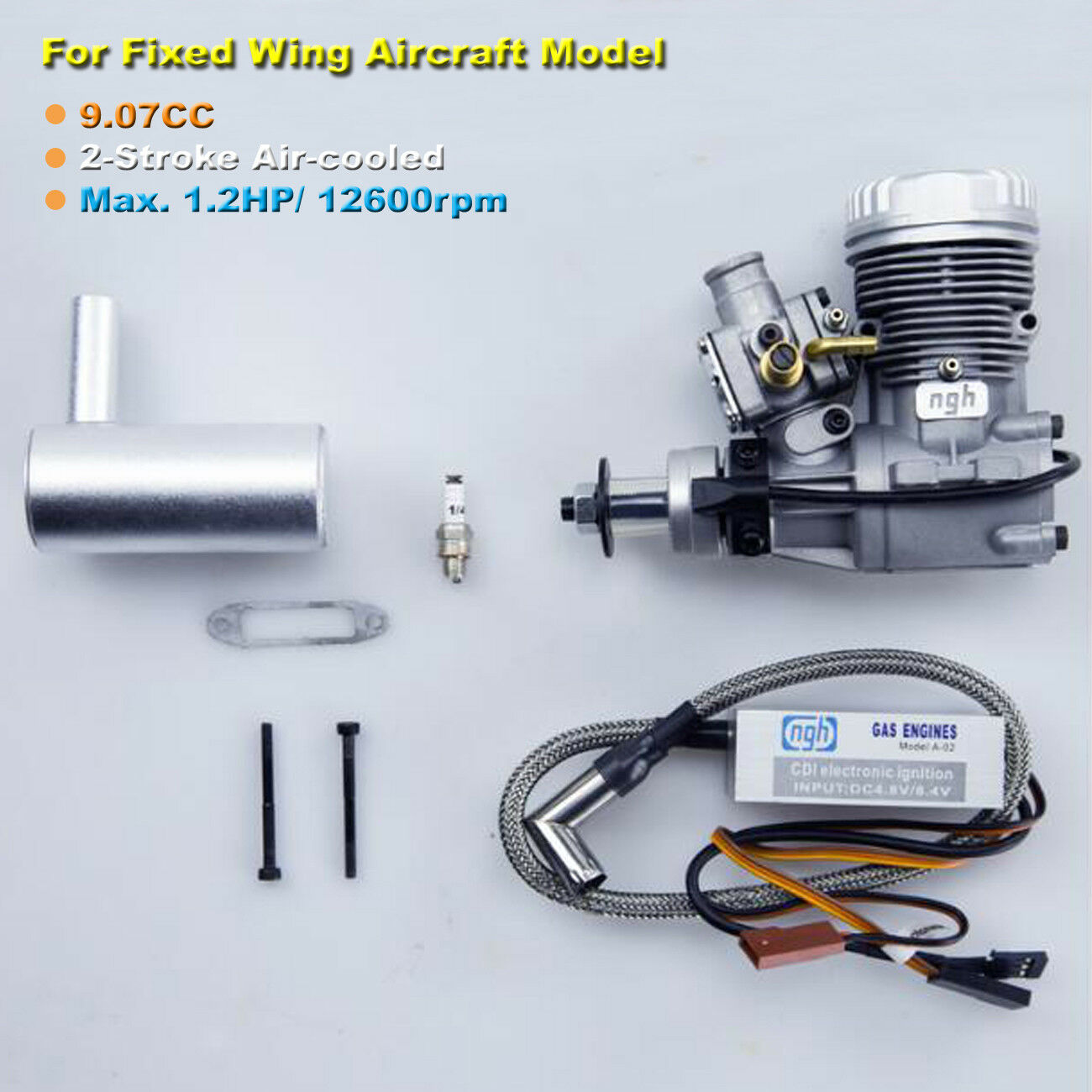 9CC 2-Stroke Gasoline Engine Motor NGH GT9 Pro for Fixed Wing Airplane Model Toy