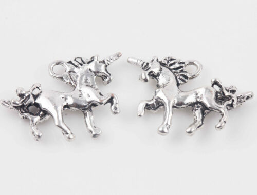 10//20Pcs Tibet Silver Unicorn Shape Charms Pendants Jewelry Making Craft 20x15mm