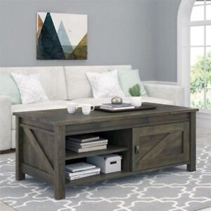 Details About Wood Coffee Table Rustic Tables Storage Farmhouse Barn Door Living Room Home