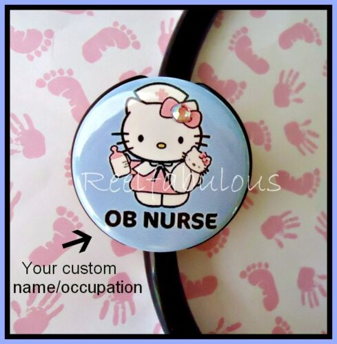 Hello Kitty LABOR and DELIVERY CUSTOM STETHOSCOPE ID Tag