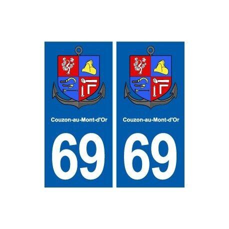 69 Couzon-au-Mont-d'Or blason autocollant plaque stickers ville arrondis