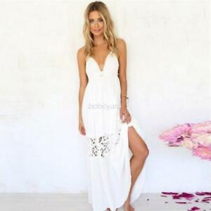 Women-Summer-Lace-Strap-Long-Maxi-Dress-Backless-Party-Beach-Boho-Sundress-AU