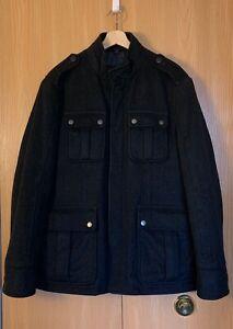 Hugo Boss Size 42R Black Herringbone Wool Military Style ...