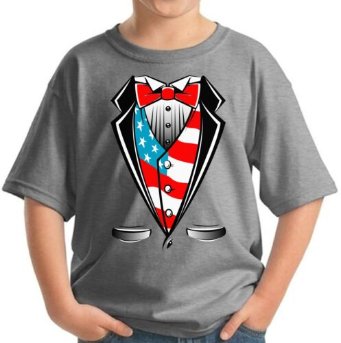 Tuxedo USA Flag Youth Kids T shirt Tops American Flag Tuxedo 4th of July