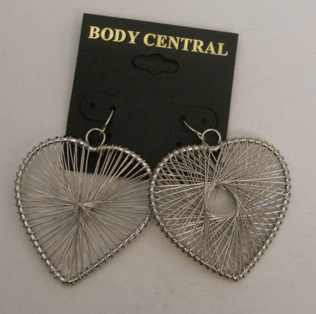 Body Central Sale >> Women Fashion Earrings Wired Hearts Drop Dangle Silver Tones Body Central Hook