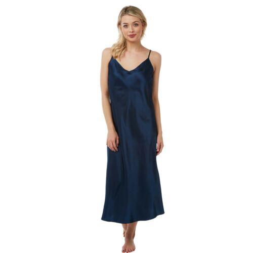 Damen Ebene Marine Blau Satin lange Nachthemd Chemise Pyjamas Übergröße 36-62!