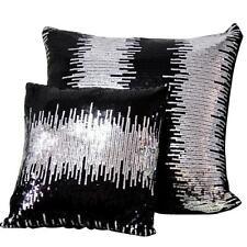 """Silver Sequin Sofa Cushion Beaded Cushion Cover Black Throw Pillow Case 17""""x17"""""""