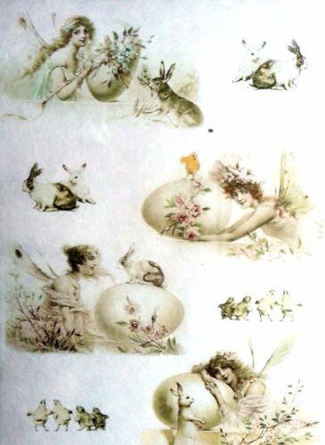 Rice Paper for Decoupage Scrapbooking Sheet Craft Fairy /& Bunnies Art W//47