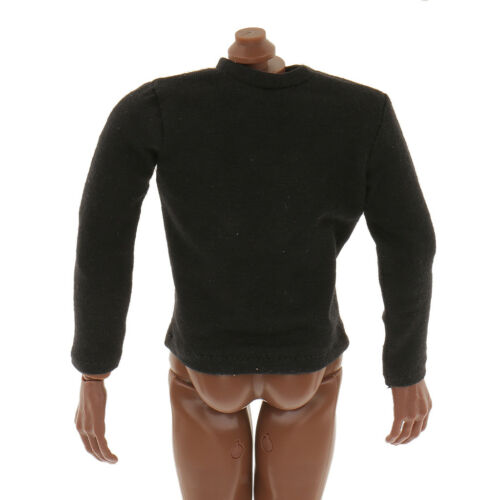 1//6 Black Long Sleeve T-Shirt Clothes Accs For 12inch Hot Toys Action Figure