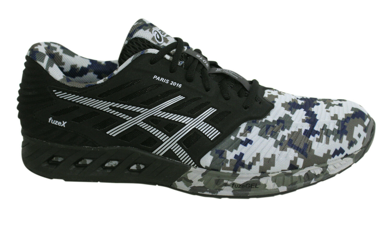 Asics fuzeX Paris Black Marathon 2016 Lace Up Black Paris Camo Mens Trainers T61UQ 9017 M9 6d41e3