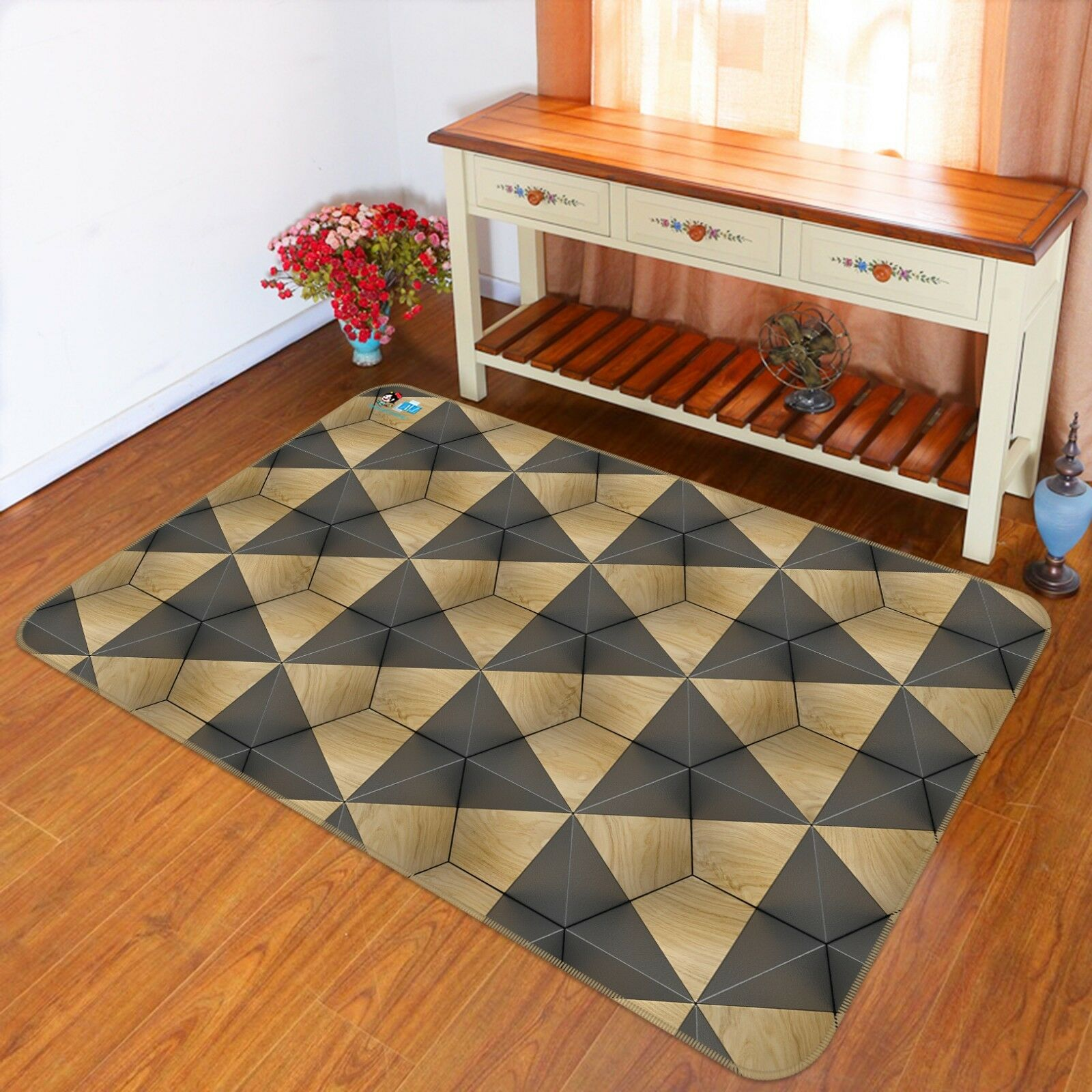 3D Triangle Geometry 5 Non Slip Rug Mat Room Mat Quality Elegant Photo Carpet AU