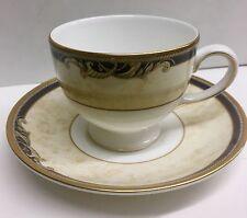 Tea or Coffee Cup & Saucer, Wedgwood Bone China Cornucopia Pattern -Blue Gold
