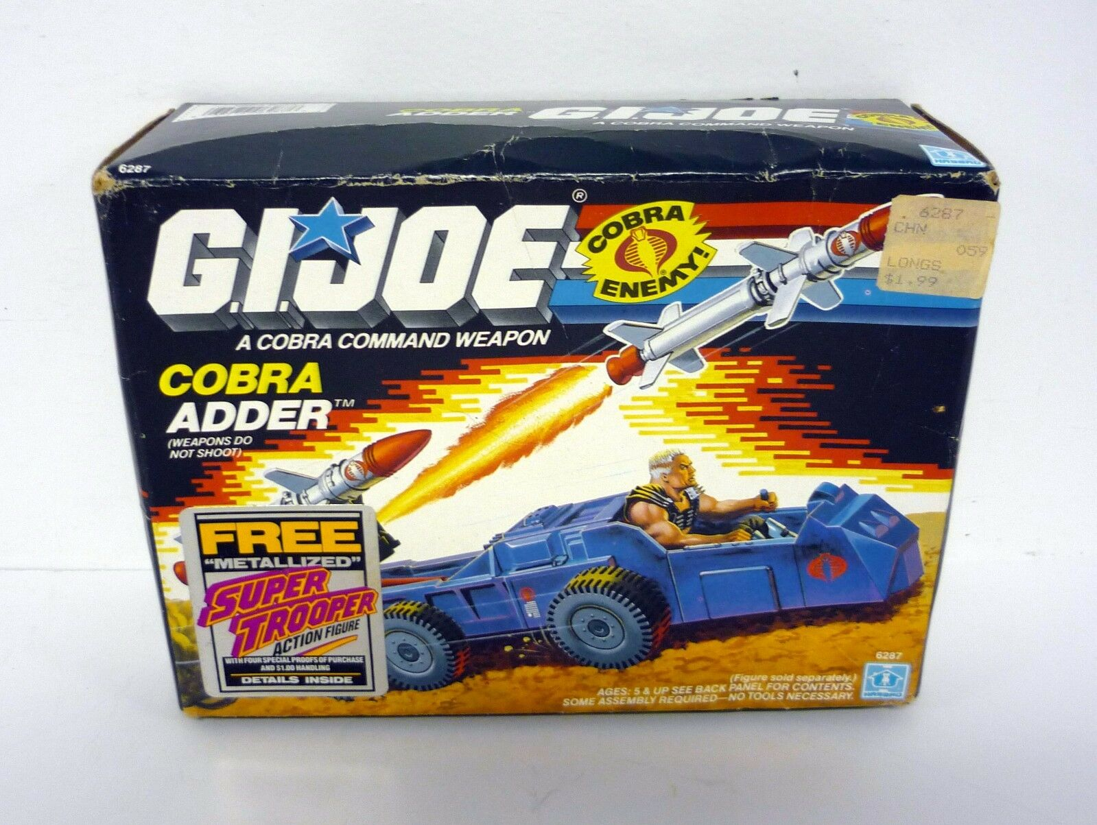 Gi Joe Cobra Adder Vintage Actionfigur Fahrzeug Misb / Komplett mit / Kiste 1988