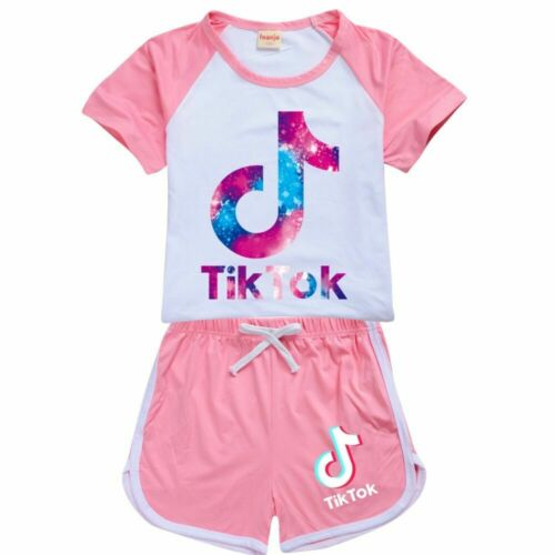 Pant Kids Gift 2PCS Fashion Girls Boys TIK TOK 100/% Cotton Casual T-Shirts Tops