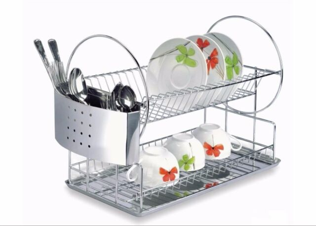 Special Stainless Steel Dish Rack 2 Tier With Removable Cutlery Organizer For Sale Online
