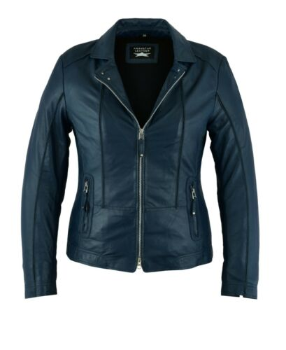 Awanstar Neue Lammnappa Damen leder jacke Hochwertige Lederjacke für Damen Blau