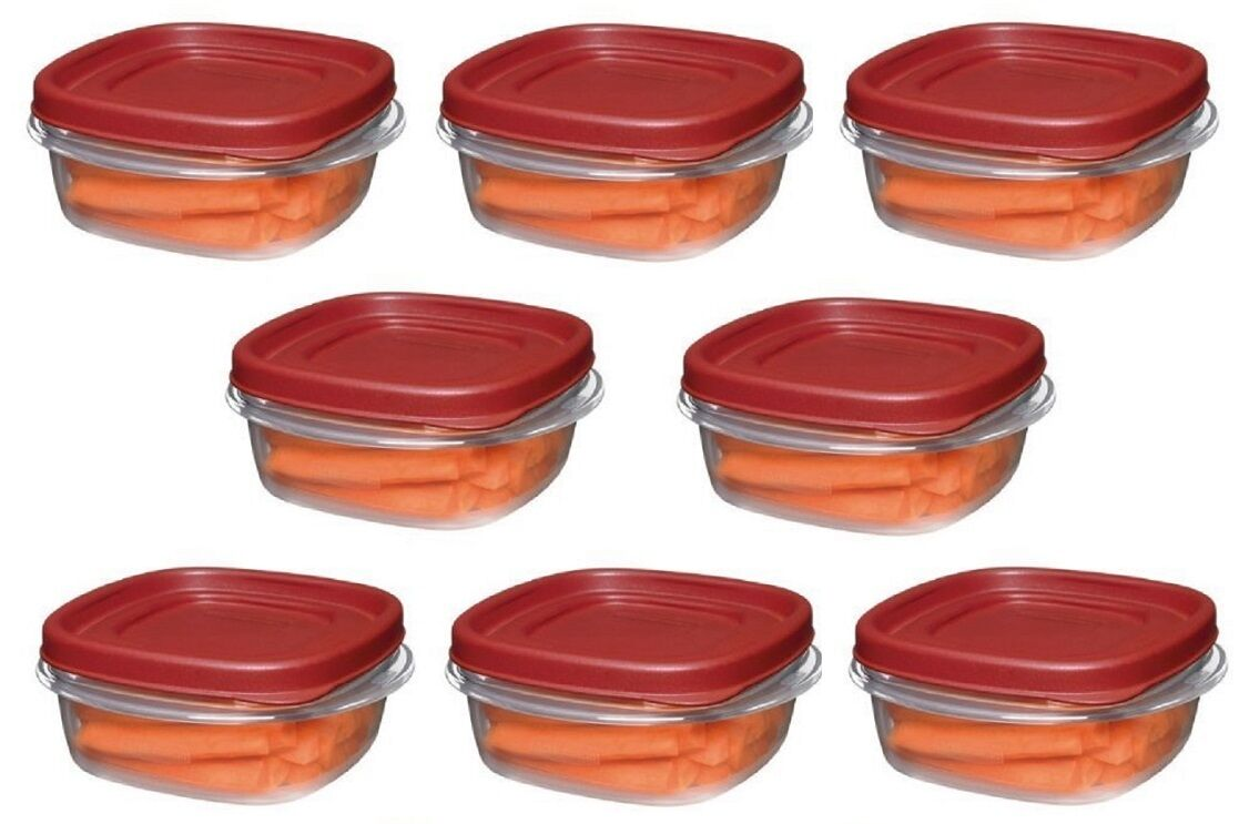 (8) ea Rubbermaid 1777084 1.25 Cup Easy Find Lid Square Food Storage Containers