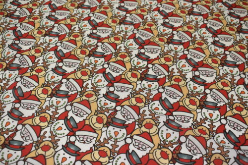 Santa and Friends Christmas Festive Polycotton Fabric