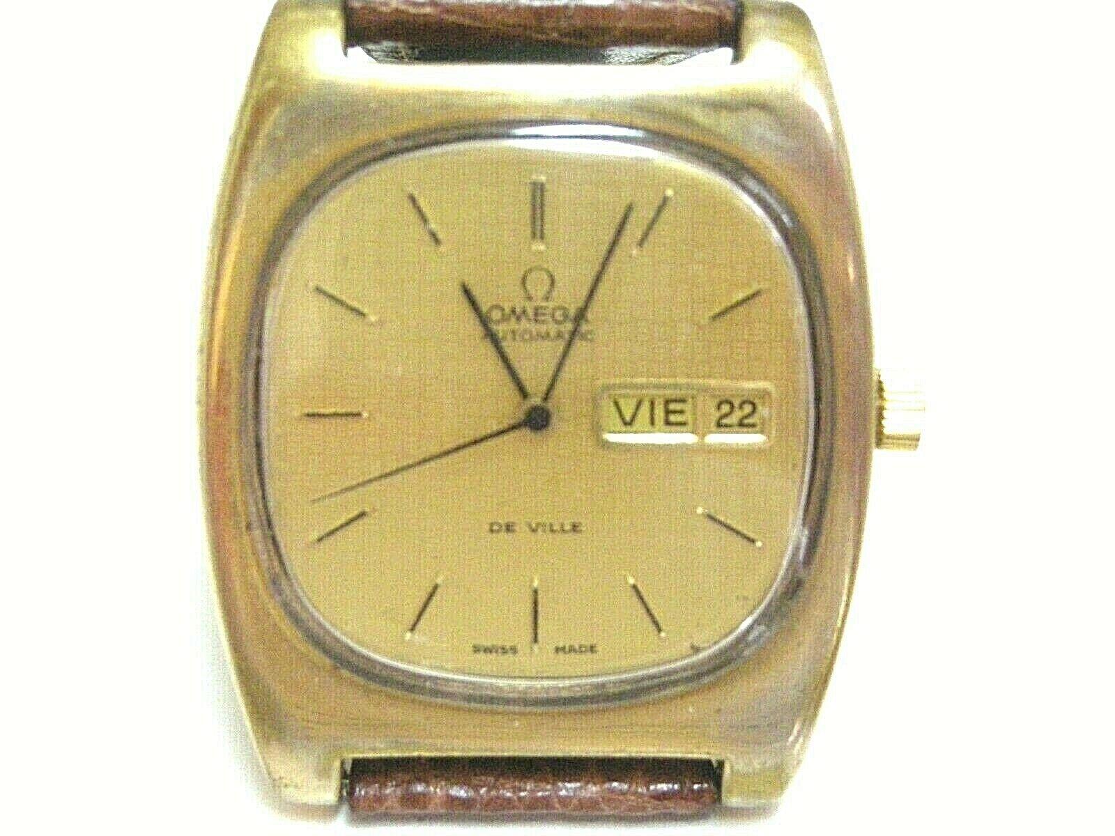OMEGA-DE VILLE AUTOMATIC CAL.1022 WATCH, GENTS, VTG 1973 ST-ST G/P 18K, D-DAY